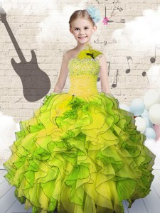Yellow Green Lace Up Girls Pageant Dresses Beading and Ruffles Sleeveless Floor Length