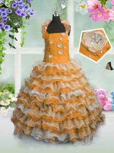 Orange Ball Gowns Beading and Appliques and Ruffled Layers Custom Made Pageant Dress Lace Up Organza Sleeveless Floor Length