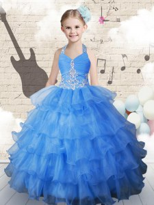 Discount Halter Top Sleeveless Pageant Dress for Girls Floor Length Beading and Ruffled Layers Light Blue Organza