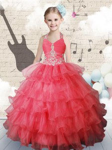 Stunning Coral Red Ball Gowns Halter Top Sleeveless Organza Floor Length Lace Up Ruffled Layers Winning Pageant Gowns