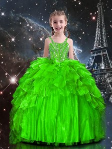 Ball Gowns Spaghetti Straps Sleeveless Organza Floor Length Lace Up Beading and Ruffles Little Girls Pageant Gowns