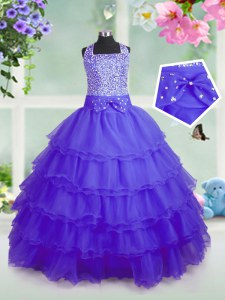 Sleeveless Organza Floor Length Zipper Little Girl Pageant Gowns in Purple with Beading and Ruffled Layers