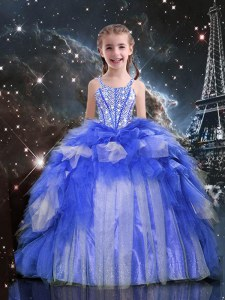 Hot Sale Blue Ball Gowns Organza Spaghetti Straps Sleeveless Beading and Ruffles Floor Length Lace Up Pageant Dress for Teens