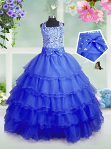 Royal Blue Sleeveless Floor Length Beading and Ruffled Layers Zipper Little Girls Pageant Gowns