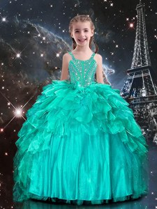 Aqua Blue Ball Gowns Organza Spaghetti Straps Sleeveless Beading and Ruffles Floor Length Lace Up Child Pageant Dress