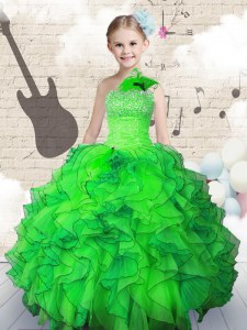 Custom Made Green Ball Gowns Organza Strapless Sleeveless Beading and Ruffles Floor Length Lace Up Little Girls Pageant Dress Wholesale