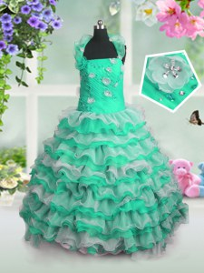 Classical Green Lace Up Little Girls Pageant Gowns Beading and Appliques and Ruffled Layers Sleeveless Floor Length
