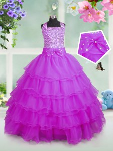 Rose Pink Organza Zipper Square Sleeveless Floor Length Pageant Gowns For Girls Beading and Ruffled Layers