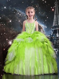 Fashion Floor Length Apple Green Pageant Dress for Teens Tulle Sleeveless Beading and Ruffled Layers