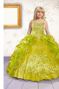 Apple Green Lace Up Pageant Gowns For Girls Beading and Appliques and Pick Ups Sleeveless Floor Length