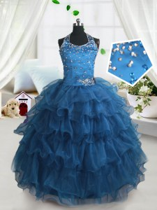 Spaghetti Straps Sleeveless Organza Custom Made Pageant Dress Beading and Ruffled Layers Lace Up