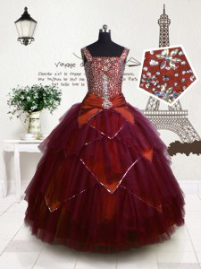 Fuchsia Tulle Lace Up Straps Sleeveless Floor Length Little Girls Pageant Dress Wholesale Beading and Belt
