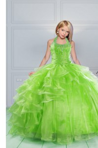 Halter Top Beading and Ruching Pageant Dress Wholesale Apple Green Lace Up Sleeveless Floor Length