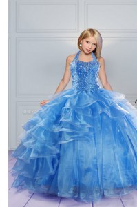 Affordable Halter Top Sleeveless Beading and Ruffles Lace Up Little Girl Pageant Dress