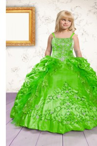 Custom Fit Green Lace Up Little Girls Pageant Gowns Beading and Appliques and Pick Ups Sleeveless Floor Length