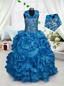 Teal Ball Gowns Halter Top Sleeveless Taffeta Floor Length Zipper Beading and Ruffles Kids Formal Wear