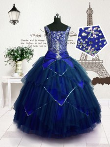 Superior Sleeveless Lace Up Floor Length Beading and Belt Pageant Dress