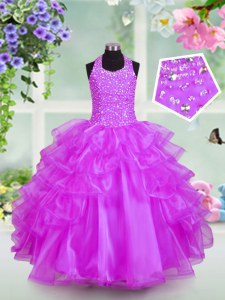 Amazing Halter Top Lilac Organza Lace Up Pageant Dress for Teens Sleeveless Floor Length Beading and Ruffled Layers