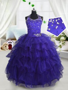 Classical Scoop Sleeveless Lace Up Floor Length Beading and Ruffled Layers Pageant Dress for Teens