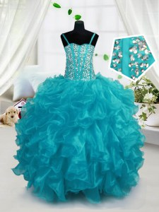 Aqua Blue Organza Lace Up Little Girls Pageant Gowns Sleeveless Floor Length Beading and Ruffles