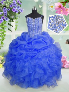 Hot Sale Baby Blue Organza Lace Up Kids Formal Wear Sleeveless Floor Length Beading and Ruffles and Pick Ups
