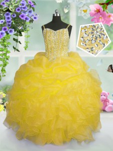 Spaghetti Straps Sleeveless Organza Pageant Dresses Beading and Ruffles and Pick Ups Lace Up