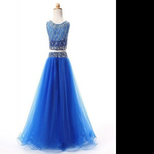 Beautiful Scoop Sleeveless Beading Lace Up Pageant Gowns