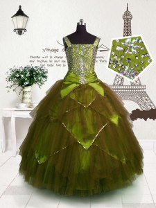 Ball Gowns Little Girls Pageant Dress Brown Straps Tulle Sleeveless Floor Length Lace Up