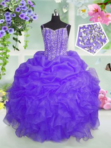 Classical Lavender Ball Gowns Spaghetti Straps Sleeveless Organza Floor Length Lace Up Beading and Ruffles and Pick Ups Kids Pageant Dress