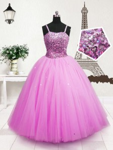 Gorgeous Floor Length Zipper Little Girl Pageant Dress Hot Pink for Party and Wedding Party with Beading and Sequins