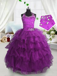 Scoop Sleeveless Lace Up Floor Length Beading and Ruffled Layers Pageant Gowns For Girls