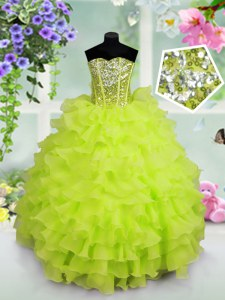 Sequins Ruffled Ball Gowns Little Girls Pageant Dress Sweetheart Organza Sleeveless Floor Length Lace Up