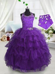 Simple Ruffled Scoop Sleeveless Lace Up Little Girls Pageant Dress Purple Organza