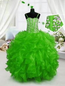 High Quality Sleeveless Organza Floor Length Lace Up Girls Pageant Dresses in Green with Beading and Ruffles