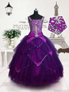 Tulle Straps Sleeveless Lace Up Belt Kids Pageant Dress in Purple