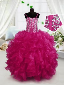 Hot Pink Ball Gowns Beading and Ruffles Little Girls Pageant Dress Wholesale Lace Up Organza Sleeveless Floor Length