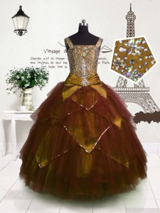 Pretty Brown Straps Neckline Beading and Belt Winning Pageant Gowns Sleeveless Lace Up