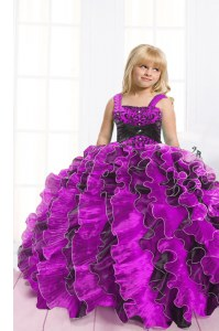 Fuchsia Lace Up Little Girls Pageant Dress Beading and Ruffles Sleeveless Floor Length