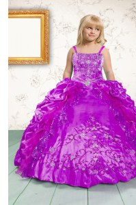 On Sale Fuchsia Ball Gowns Beading and Appliques and Pick Ups Kids Formal Wear Lace Up Satin Sleeveless Floor Length