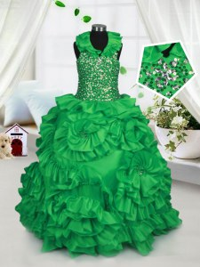 Latest Green Taffeta Zipper Halter Top Sleeveless Floor Length Girls Pageant Dresses Beading and Ruffles