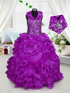 Halter Top Purple Taffeta Zipper Pageant Dress for Teens Sleeveless Floor Length Beading