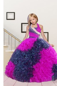Eye-catching Floor Length Hot Pink Kids Pageant Dress Halter Top Sleeveless Lace Up