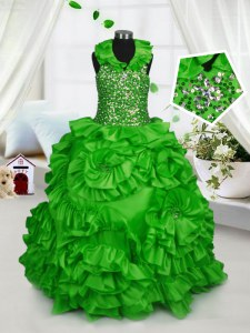 Great Halter Top Sleeveless Little Girl Pageant Dress Floor Length Beading and Ruffles Taffeta