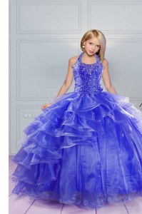 Halter Top Sleeveless Lace Up Floor Length Beading and Ruffles Girls Pageant Dresses