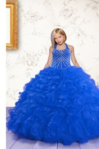 Glorious Royal Blue Lace Up Halter Top Beading and Ruffles Little Girls Pageant Dress Wholesale Organza Sleeveless