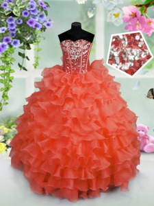 Cheap Coral Red Ball Gowns Sweetheart Sleeveless Organza Floor Length Lace Up Ruffled Layers and Sequins Pageant Dress for Teens