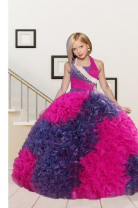 Superior Halter Top Sleeveless Floor Length Beading and Ruffles Lace Up Little Girls Pageant Dress Wholesale with Fuchsia