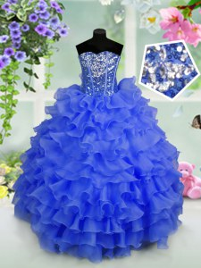 Stunning Royal Blue Organza Lace Up Pageant Dress Sleeveless Floor Length Ruffled Layers and Sequins