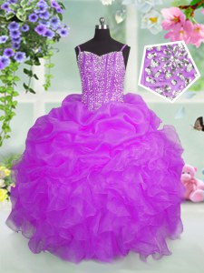 Pick Ups Floor Length Ball Gowns Sleeveless Fuchsia Winning Pageant Gowns Lace Up