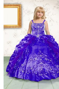 Pick Ups Floor Length Royal Blue Custom Made Pageant Dress Spaghetti Straps Sleeveless Lace Up